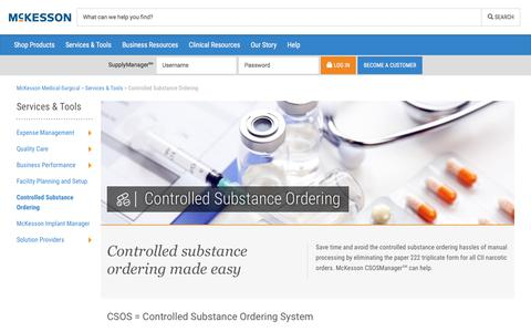 Controlled Substance Ordering - McKesson Medical-Surgical