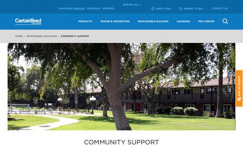 Screenshot of Support Page certainteed.com - Community Support | CertainTeed - captured Nov. 4, 2019