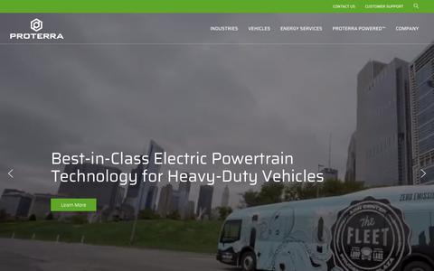 Screenshot of Home Page proterra.com - Proterra Electric Bus   EV Bus   Zero Emission Bus - captured July 22, 2019