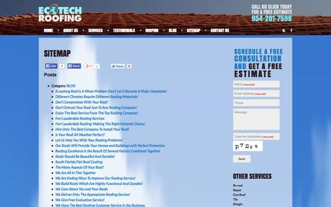 Screenshot of Site Map Page roofing-fortlauderdale.com - Eco Tech Roofing Sitemap - captured Oct. 1, 2014