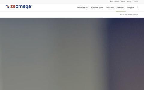 Screenshot of Services Page zeomega.com - ZeOmega Services - captured Dec. 16, 2015