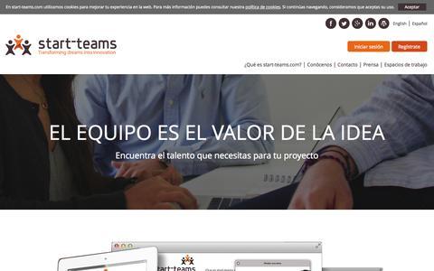 Screenshot of Home Page start-teams.com - start-teams, encuentra a tus compañeros de viaje en la aventura de emprender. - captured Sept. 2, 2015