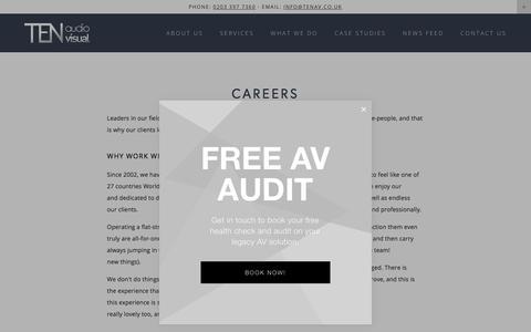 Screenshot of Jobs Page tenav.co.uk - Careers — TEN Audio Visual - captured Sept. 25, 2018
