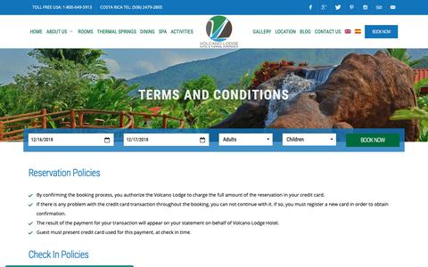 Screenshot of Terms Page volcanolodge.com - Volcano Lodge, Hotel & Thermal Experience - captured Dec. 16, 2018