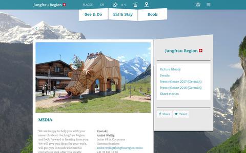 Screenshot of Press Page jungfrauregion.ch - Media | Grindelwald, Wengen, Mürren, Lauterbrunnen, Haslital - captured Oct. 12, 2017