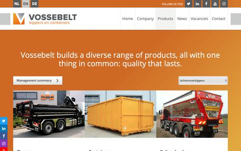 Screenshot of Products Page vossebelt-bv.com - Vossebelt builds a diverse range of products, all with one thing in common: quality that lasts. - captured Nov. 16, 2018