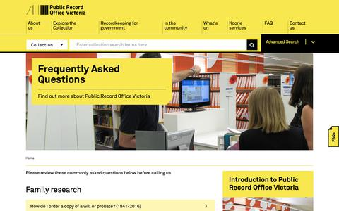 Screenshot of FAQ Page prov.vic.gov.au - Frequently Asked Questions | PROV - captured Sept. 30, 2018