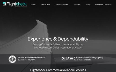 Screenshot of Home Page flightcheck.us - Flightcheck Commercial Aviation Services - captured Feb. 10, 2016