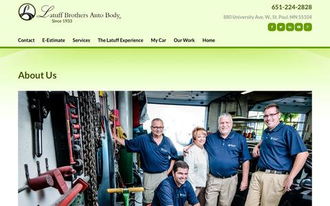 Screenshot of About Page latuffbrothers.com - Body Shop Roseville, White Bear Lake, Maplewood MN | Latuff Brothers Auto Body - captured Jan. 26, 2016