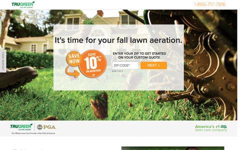 Screenshot of Landing Page trugreen.com - TruGreen. Live life outside. - captured Nov. 3, 2016
