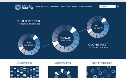 Screenshot of Home Page oxfordgenetics.com - Oxford Genetics Ltd - The Plasmid Company - captured Sept. 17, 2014