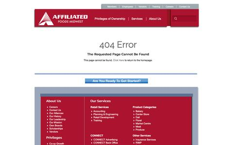 Screenshot of Testimonials Page afmidwest.com - 404 Error | Affiliated Foods Midwest - captured Sept. 30, 2016