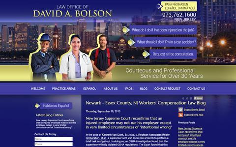 Screenshot of Blog bolsonlaw.com - Newark - Essex County, NJ Workers' Compensation Law Blog - Newark NJ Workers Compensation Personal Injury Lawyer - captured Sept. 27, 2018