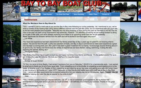 Screenshot of Testimonials Page baytobayboatclub.com - Testimonials for Boat Club Lake Minnetonka, Minnesota Pontoon Boat Rentals - captured Dec. 30, 2015