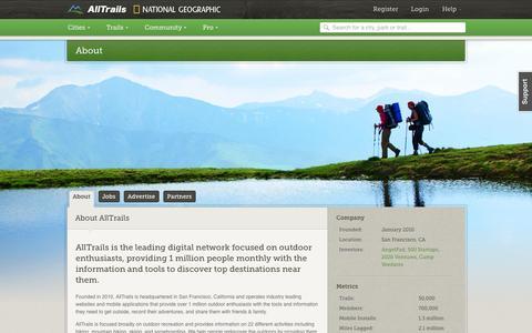 Screenshot of About Page alltrails.com - About | AllTrails.com - captured Sept. 13, 2014
