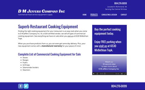 Screenshot of Products Page dmjeffers.com - Restaurant Cooking Equipment | Stoves | Richmond, VA - captured Oct. 11, 2017