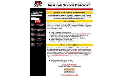 Screenshot of Home Page asd.com - American School Directory - captured Jan. 28, 2015