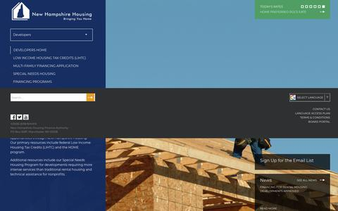 Screenshot of Developers Page nhhfa.org - Developers   New Hampshire Housing - captured Oct. 20, 2018