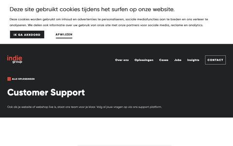 Screenshot of Support Page indiegroup.be - Customer support | Indie Group | Indie Group - captured Nov. 6, 2018