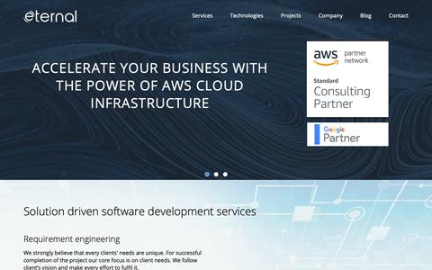 Screenshot of Home Page eternalsoftsolutions.com - AngularJS & Node.js Development & Web Application Development Company in India, UK, USA - captured Jan. 29, 2019