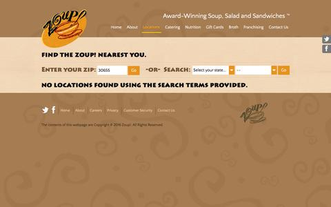 Screenshot of Locations Page zoup.com - Zoup! Locations - Find the Zoup! Nearest You - captured March 1, 2016