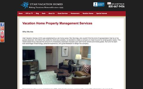 Screenshot of About Page utahvacationhomes.com - property management vacation rental home about us - captured Oct. 7, 2014