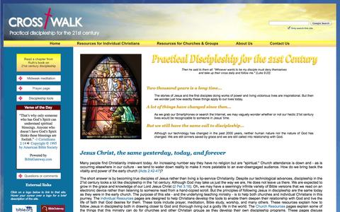 Screenshot of Home Page crosswalkconsulting.com - CrossWalk Consulting - practical discipleship for the 21st century – discipleship training, church growth consulting, retreats and workshops - captured Sept. 30, 2014