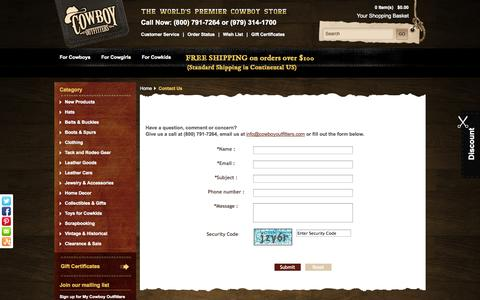 Screenshot of Contact Page Support Page cowboyoutfitters.com - Contact Us - captured Oct. 22, 2014