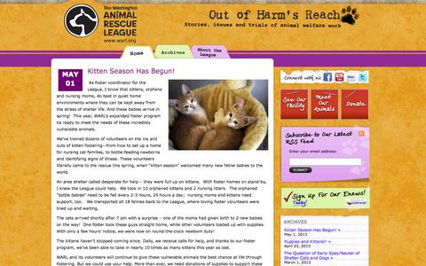 Screenshot of Blog warl.org - Out of Harm's Reach | Washington Animal Rescue League - captured Oct. 8, 2014