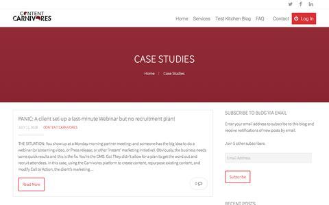 Screenshot of Case Studies Page contentcarnivores.com - Case Studies Archives - Content Carnivores - captured July 21, 2018