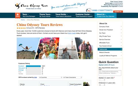 Screenshot of Testimonials Page chinaodysseytours.com - Real China Tour reviews, unbiased China tour Comments and Testimonials - captured July 17, 2018