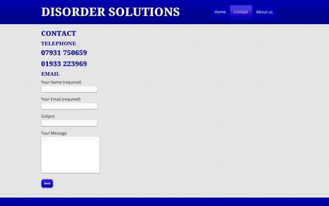 Screenshot of Contact Page disordersolutions.co.uk - Contact | Disorder Solutions - captured Sept. 30, 2014