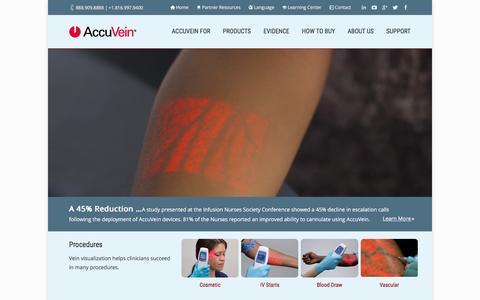 Screenshot of Home Page accuvein.com - AccuVein Vein Visualization-Improves IV 1-Stick Success 3.5x - captured Dec. 3, 2015