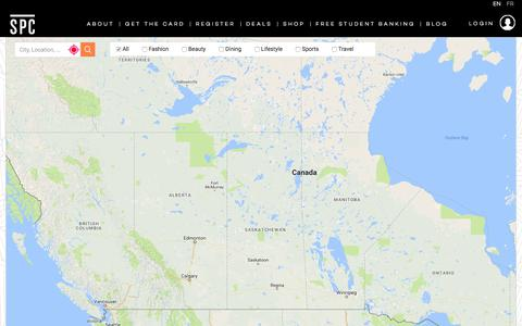 Screenshot of Maps & Directions Page spccard.ca - Locate Student Discounts across Canada | Student Price Card - captured July 13, 2017