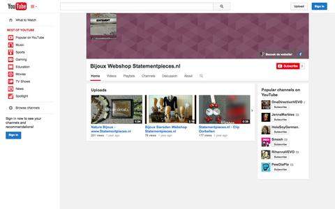 Screenshot of YouTube Page youtube.com - Bijoux Webshop Statementpieces.nl  - YouTube - captured Oct. 26, 2014