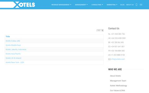 Screenshot of Locations Page xotels.com - Xotels Office Locations Wordlwide - captured May 11, 2018