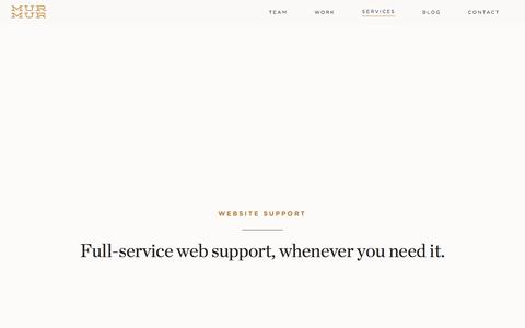 Screenshot of Support Page murmurcreative.com - Murmur Creative Website Support - captured Aug. 15, 2016