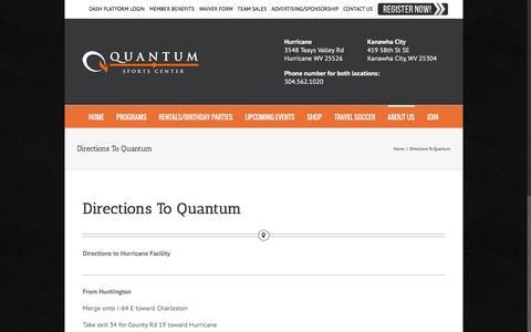 Screenshot of Maps & Directions Page quantumsportscenter.com - Directions To Quantum – Quantum Sports Center - captured Nov. 12, 2016