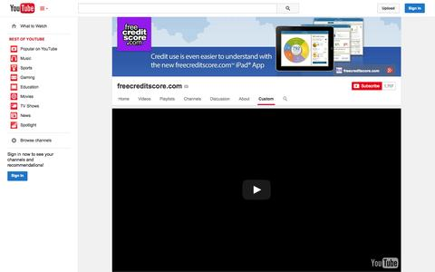 Screenshot of YouTube Page youtube.com - freecreditscore.com  - YouTube - captured Oct. 22, 2014