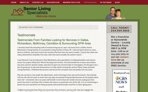 Screenshot of Testimonials Page seniorlivingspecialists.com - Assisted Living, Senior Living Testimonials - Dallas, Plano, DFW Area - captured Oct. 9, 2014