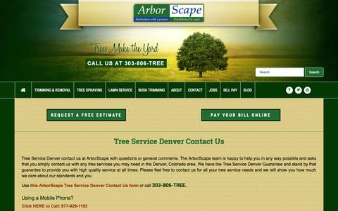 Screenshot of Contact Page arborscapeservices.com - Tree Service Denver Contact Us - captured Oct. 4, 2014