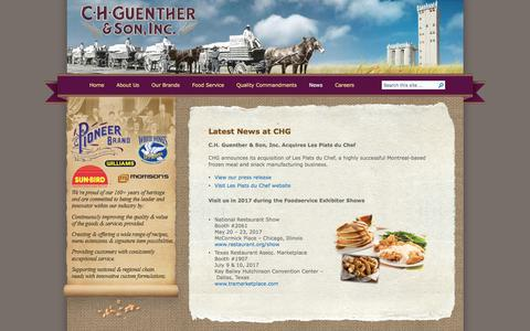Screenshot of Press Page chg.com - CH Guenther   » News - captured July 6, 2017