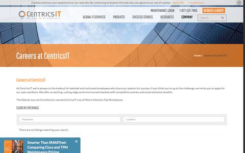 Screenshot of Jobs Page centricsit.com - Careers at CentricsIT - captured July 16, 2018