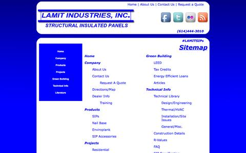 Screenshot of Site Map Page lamitindustries.com - Lamit Industries   Work Smarter, Build Better, Save More with Structural Insulated Panels (SIPs)-Sitemap - captured Oct. 1, 2014