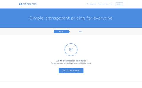 Screenshot of Pricing Page gocardless.com - Pricing - GoCardless - captured Oct. 28, 2014