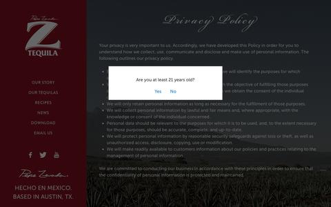 Screenshot of Privacy Page pepeztequila.com - Privacy Policy - Z Tequila - captured July 17, 2018