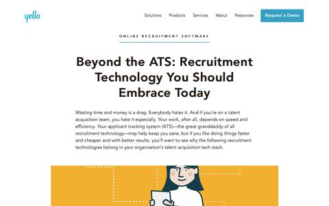 Screenshot of Jobs Page yello.co - Beyond the ATS: Recruitment Technology To Embrace | Yello Blog - captured Dec. 3, 2019