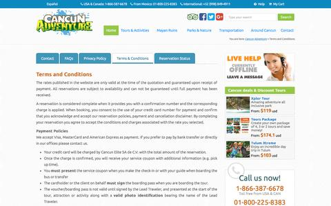 Screenshot of Terms Page cancunadventure.net - Terms and Conditions - Cancun Adventure Tours - captured Oct. 21, 2016