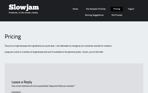 Screenshot of Pricing Page slowjam.ca - Pricing | Slowjam - captured Feb. 22, 2016