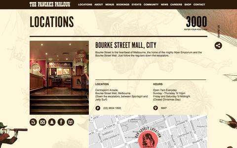 Screenshot of Locations Page pancakeparlour.com - The Pancake Parlour - Locations - captured Oct. 9, 2014